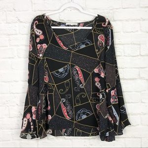 Violet+Claire Patchwork Paisley Bell Sleeve Top L